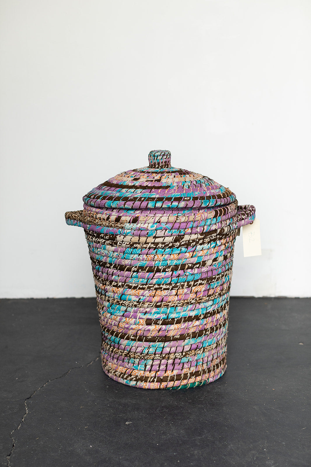 Recycled Sari Basket with Lid - B2
