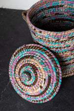 Load image into Gallery viewer, Recycled Sari Basket with Lid - B2