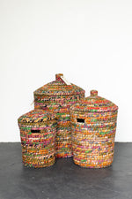 Load image into Gallery viewer, Recycled Sari Nesting Baskets - B7