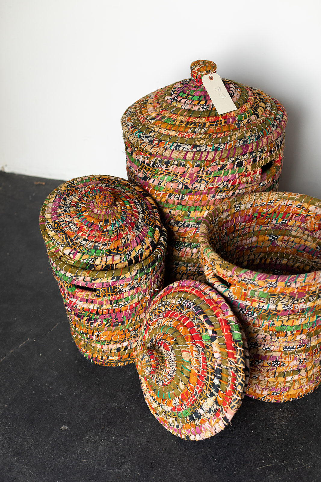 Recycled Sari Nesting Baskets - B7