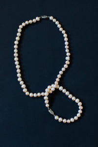 Pearl Necklace & Bracelet Set - Champagne colour