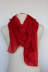 Red Cotton Gauze Scarf