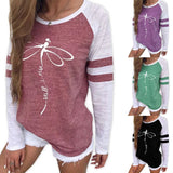 Women's Round Neck Long Sleeve Casual T Shirt