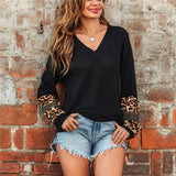 V Neck Leopard Patchwork Long Sleeve