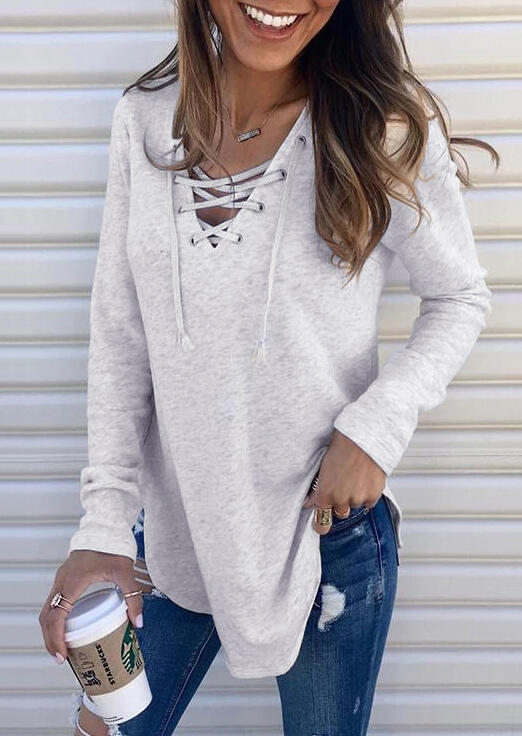 Women Solid Lace Up V Neck