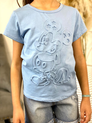 Tee-shirt Mickey à relief bleu