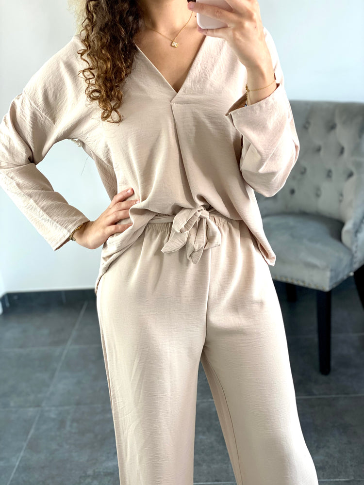 Ensemble blouse + pantalon Beige