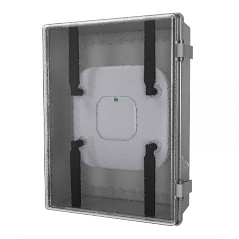 15.7 in. Low Profile NEMA-4 Plastic Wi-Fi Access Point Enclosure with Hinged Clear Door