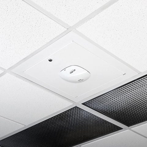 Locking Suspended Ceiling Tile Access Point Enclosure, 18.5 x 18.5 x 3 in. Back Box, Aruba AP325 Door, Metric Style Flange