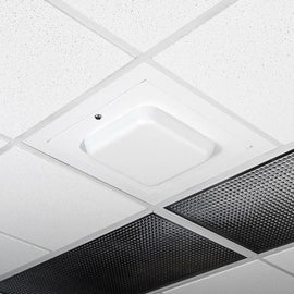 Locking Suspended Ceiling Tile Access Point Enclosure, 18.5 x 18.5 x 3 in. Back Box, White Plastic Dome Door, Metric Style Flange