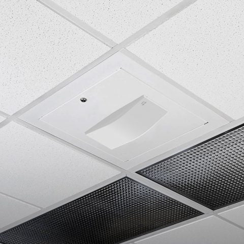 Locking Suspended Ceiling Tile Access Point Enclosure, 18.5 x 18.5 x 3 in. Back Box, Meraki MR55 Door, Tegular Style Flange