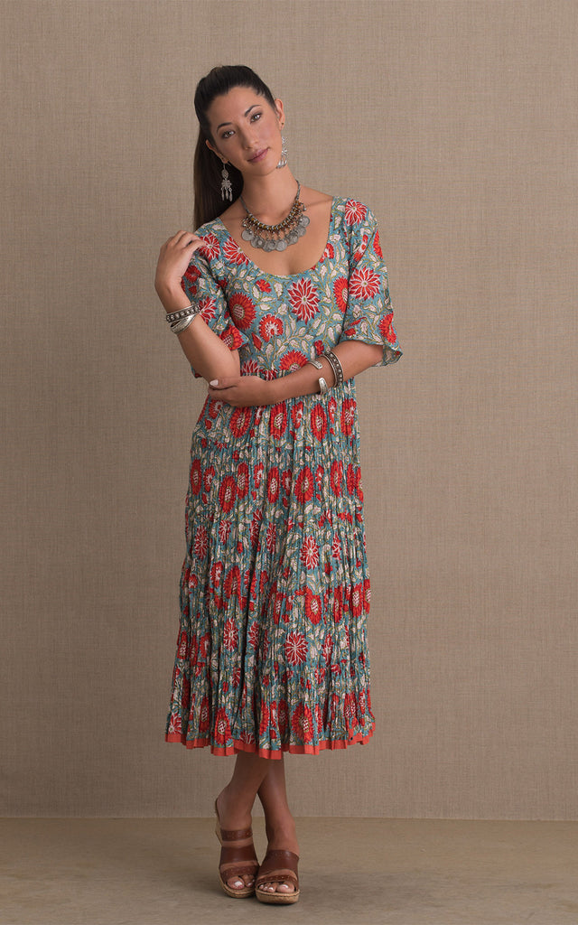 Baila Conmigo Dress, 3/4 Sleeve, Turquoise & Orange Floral