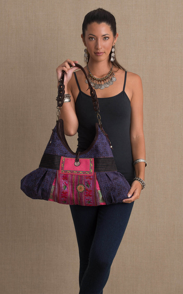 Hill Tribe Hobo Bag, Purple