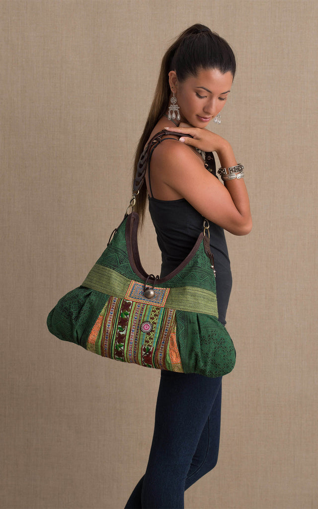 Hill Tribe Hobo Bag, Green