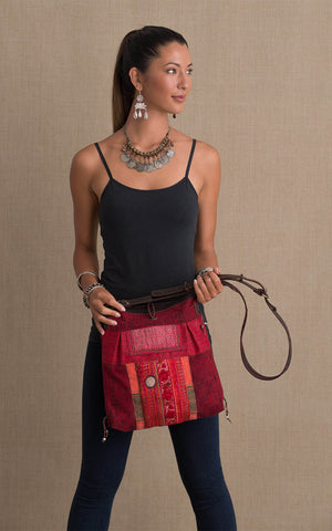 Hill Tribe Crossbody Bag, Red