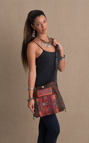Hill Tribe Crossbody Bag, Brown
