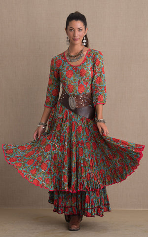 Santa Fe Dress, Long, 3/4 Sleeve, Turquoise & Orange Rose