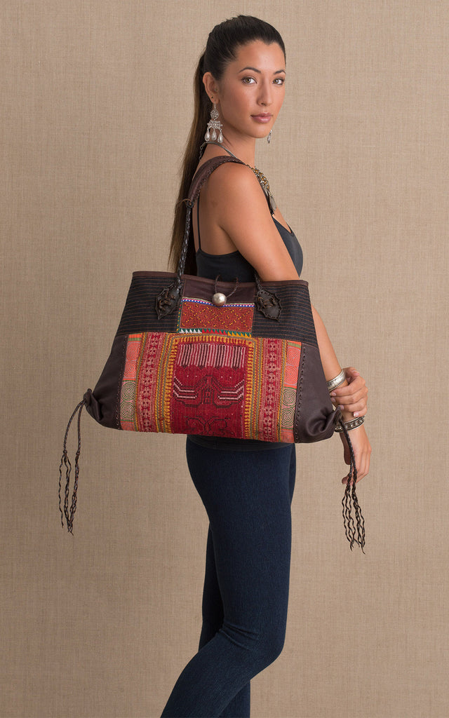 Hill Tribe Leather Detail Shoulder Bag, Multi