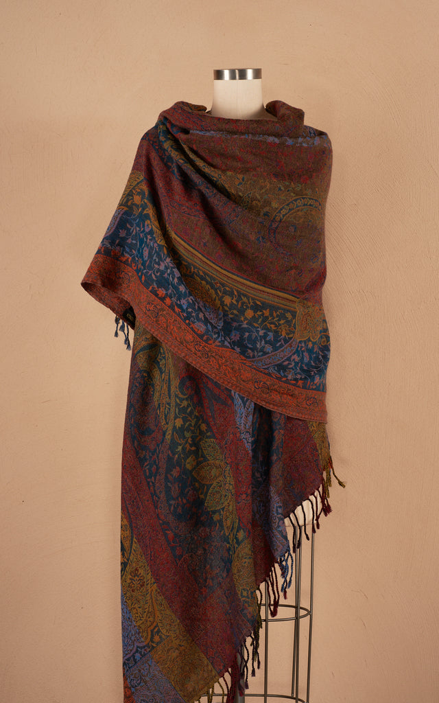 Boiled Wool Shawl, Luxury Size, Veriegated Stripe
