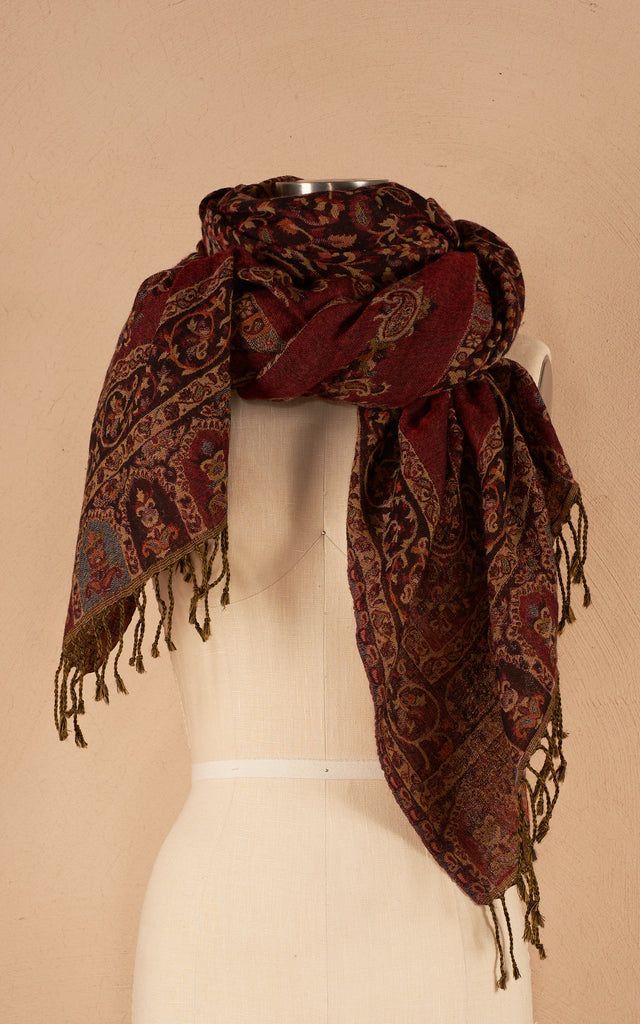 Boiled Wool Shawl, Luxury Size, Garnet Red