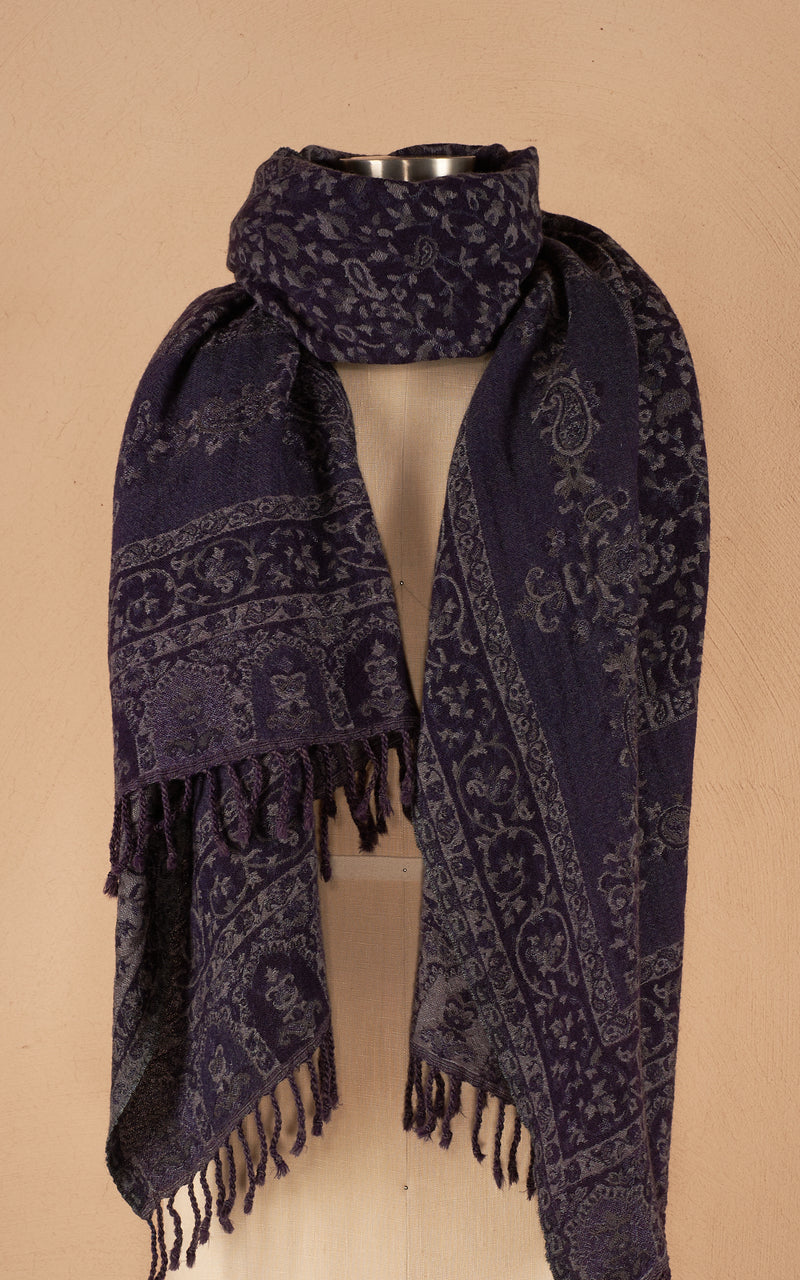 Boiled Wool Shawl, Luxury Size, Tuareg Blue