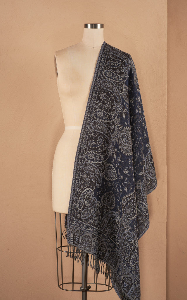 Boiled WoolShawl, Dark Denim