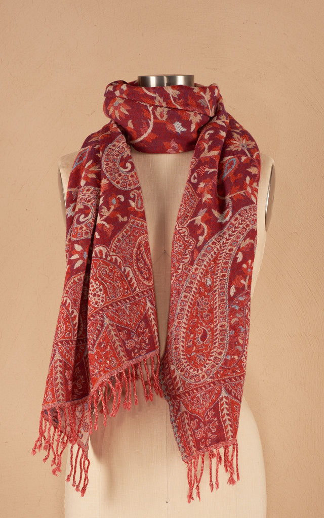 Boiled Wool Shawl, Indian Red