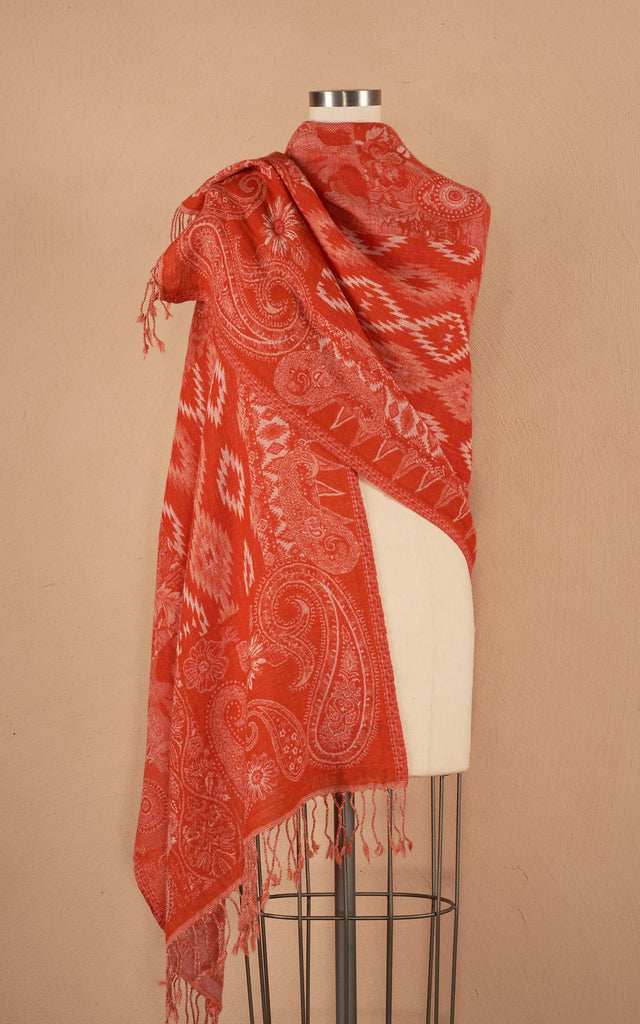 Boiled Wool Shawl, Navajo Orange