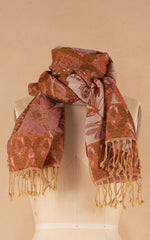 Boiled Wool Shawl, Autumn Botanical