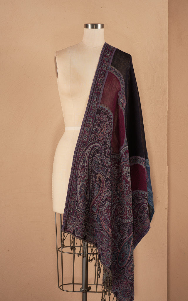 Boiled Wool Shawl, Two Tone Paisley