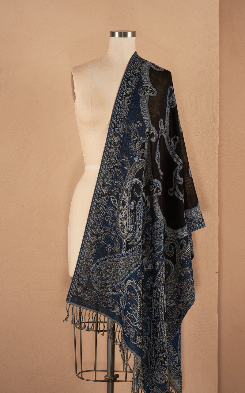 Boiled Wool Shawl, Midnight Elegance