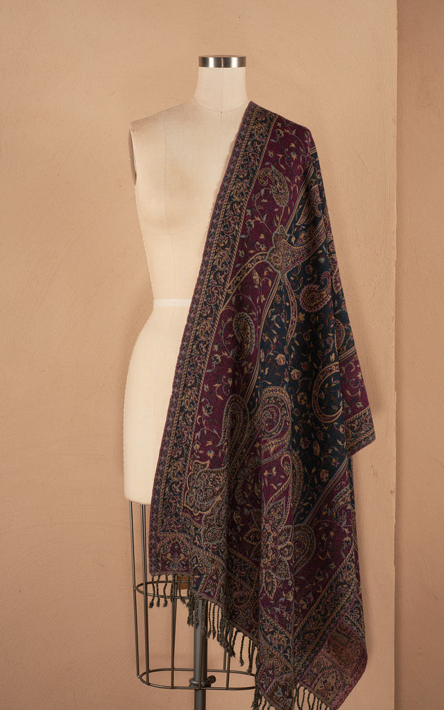 Boiled Wool Shawl, Boysenberry Paisley