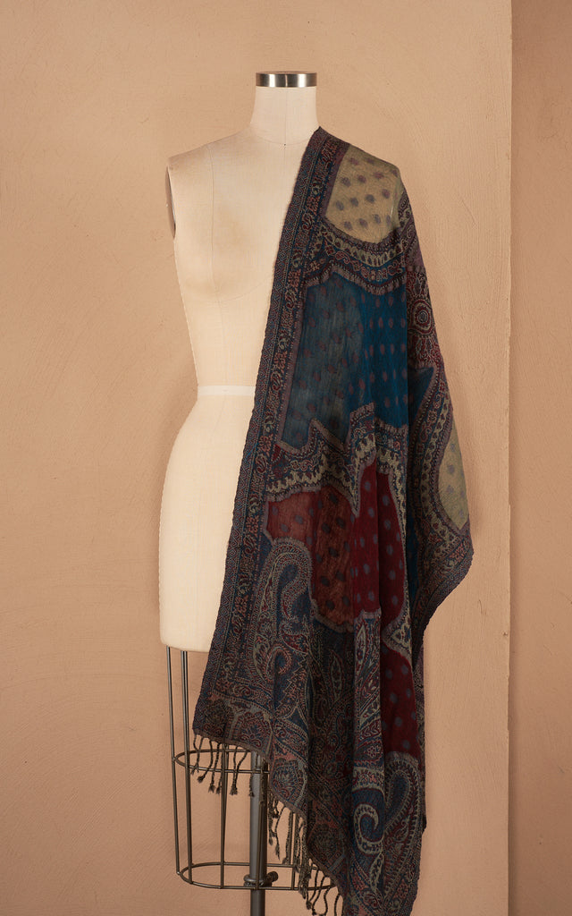 Boiled Wool Shawls, Red & Teal Dot