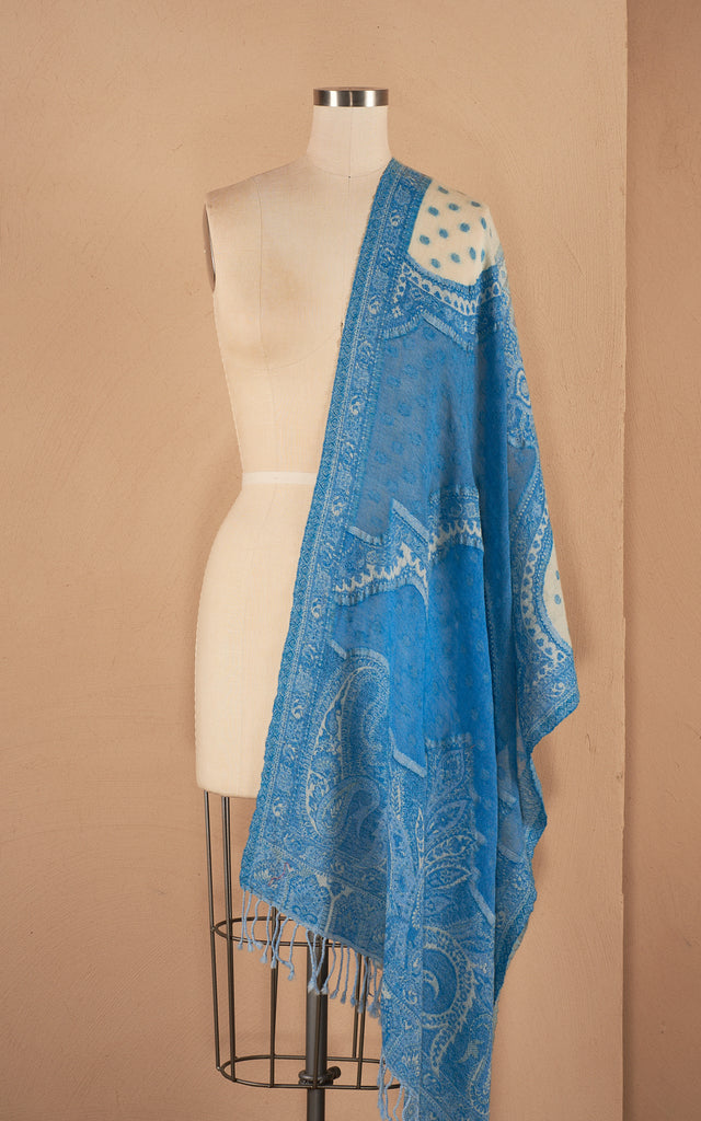 Boiled Wool Shawl, Azure Dot, Two Tone