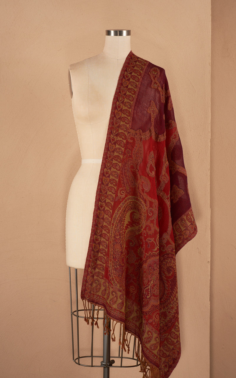 Boiled Wool Shawl, Persian Red
