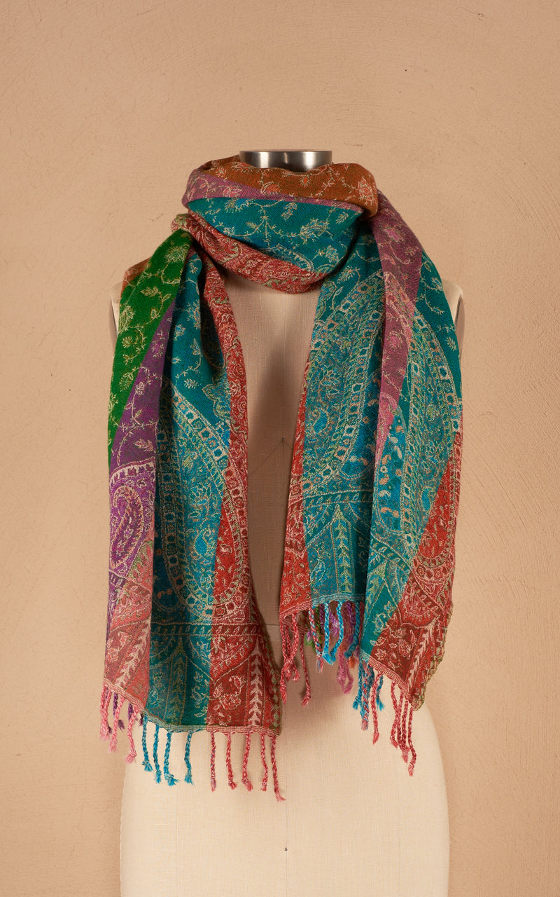 Boiled Wool Shawl, Confetti Stripe