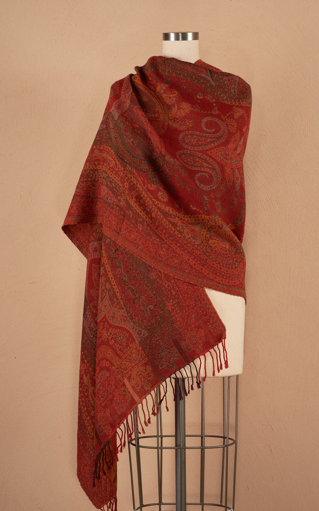 Boiled Wool Shawl, October Red