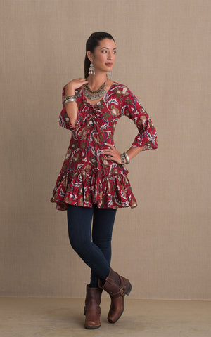 Ximena Tunic, 3/4 Sleeve, Red Floral Grande