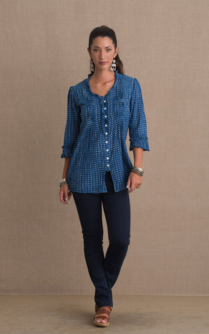 Violeta Blouse, 3/4 Sleeve, Indigo Dot