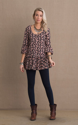Milena Tunic, 3/4 Sleeve, Black,Cream & Red Floral
