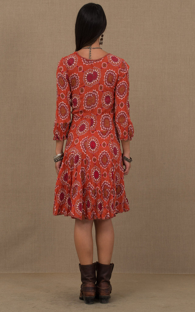 Nomad Dress, Short, 3/4 Sleeve, Orange Medallion