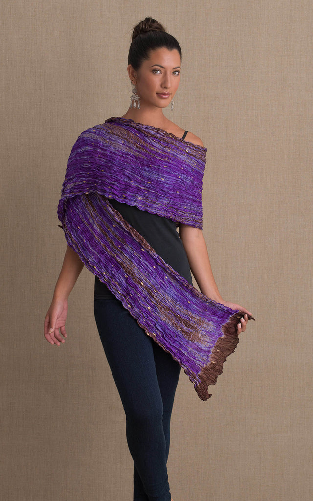 Shibori Scarf, Purple & Brown