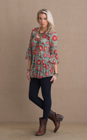 Milena Tunic, 3/4 Sleeve, Turquoise & Orange Floral