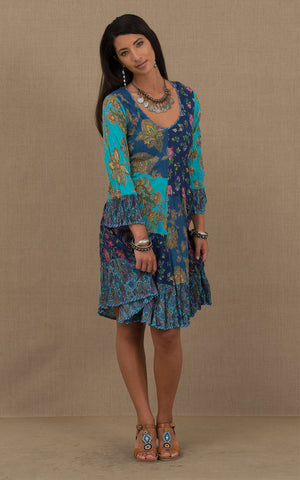 Nomad Dress, Short, 3/4 Sleeve, Turquoise & Blue Patchwork