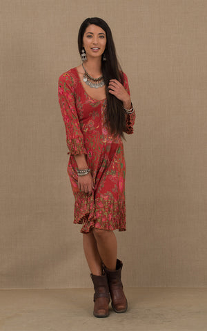 Nomad Dress, Short, 3/4 Sleeve, Red Patchwork