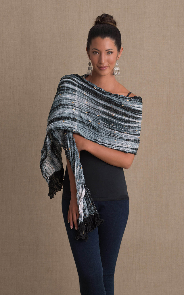 Shibori Scarf, Black & White