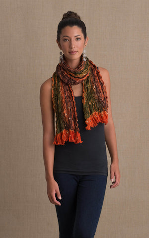 Shibori Scarf, Rust, Green & Brown