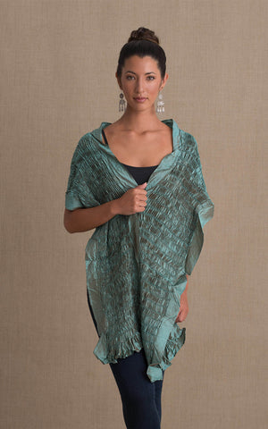 Thai Silk Shawl, Mint