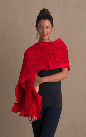 Thai Silk Shawl, Bright Red