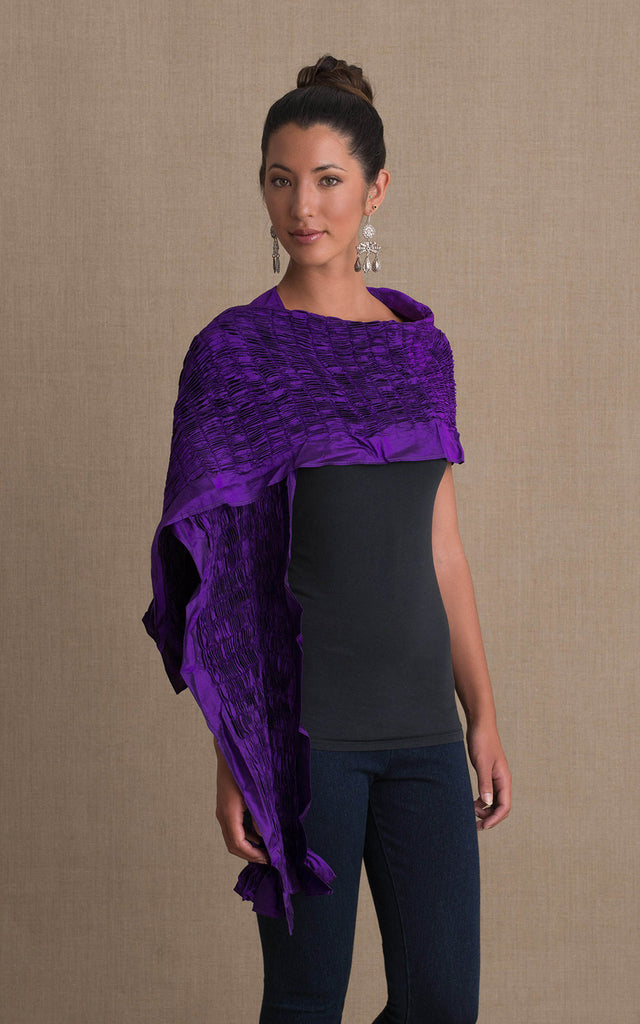 Thai Silk Shawl, Dark Purple